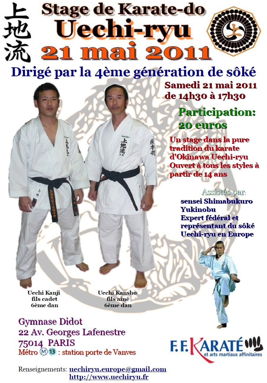 affiche du stage national de Uechi-ryu à Paris le 21 mai 2011