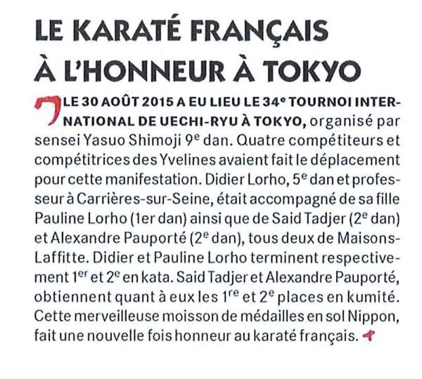 Le Karaté français à l'honneur à Tokyo